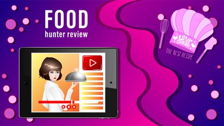Food review banner. The girl takes the dish to display tablet live broadcast or record the cookery. Learning to cook. Vector Illustration