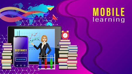 Distance Education. Mobile Learning. Tablet pc with a picture of a female teacher, smartphone, stacks of books, alarm clock and paper planes on the world map. Realistic detailed vector illustration. Ilustração