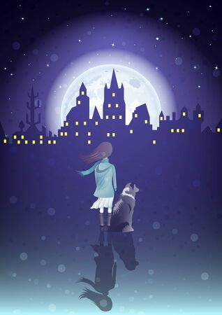 Girl with a dog under the moonlight and silhouette old city , rear view. Vector Illustration Illustration