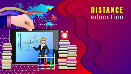 Distance Education. Mobile Learning. Hand holding Tablet pc whith female teacher, smartphone, stacks of books, alarm clock and paper planes on the world map. Realistic detailed vector illustration.
