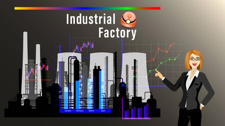 Industrial Factory banner. Businesswoman pointing at the silhouette of the plant and at the charts on dark background. Front view. Horizontal Vector Illustration  イラスト・ベクター素材