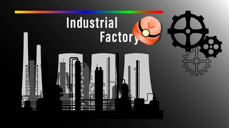 Industrial Factory banner. Silhouette of a plant, factory smoke stacks on a dark background, safety helmet and gears. Realistic vector illustration