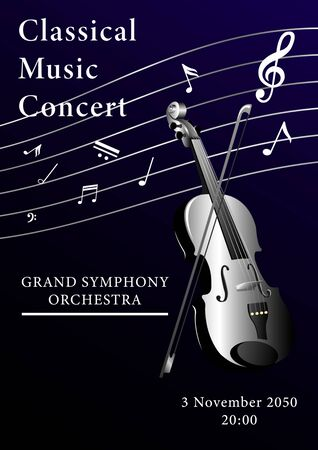 Classical music poster. Violin with a bow and musical notes on a dark duo gradient background. Realistic 3d vertical vector illustration