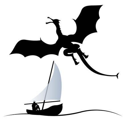 silhouette of a flying dragon and a man in a boat with a sail isolated on a white background. Flat style vector illustration  イラスト・ベクター素材