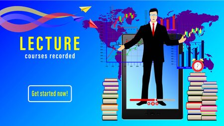 Lecture Courses recorded. Online distance learning. male teacher in front of the display tablet pc, stacks of books, alarm clock, world map and paper planes. Realistic vector illustration