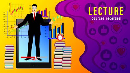 Lecture Courses recorded. Online distance learning. male teacher in front of the display tablet pc, stacks of books, alarm clock, graphics and likes. Realistic vector illustration Stock Illustratie