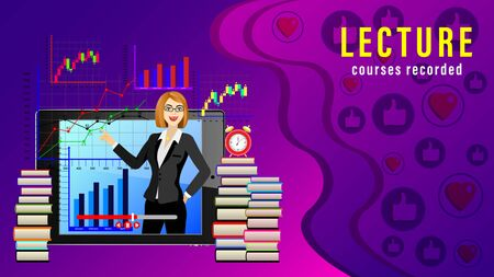 Lecture Courses recorded. Online distance learning. Female teacher in front of the display tablet pc, stacks of books, alarm clock, graphics and likes. Realistic vector illustration
