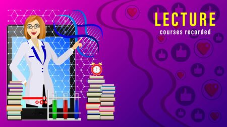 Lecture Courses recorded. Online distance learning. Female teacher in front of the display tablet pc, stacks of books, alarm clock, tubes with liquids and dna. Realistic vector illustration Иллюстрация
