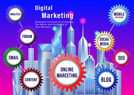 Digital Marketing banner. Color the gears with labels on a city bacground.  Vector Illustration