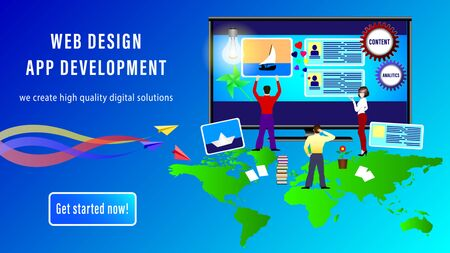 Web Design App Development banner. People install site windows on the monitor screen. Paper airplanes with colorful traces and a map of the world. Realistic 3D vector illustration Stock Illustratie