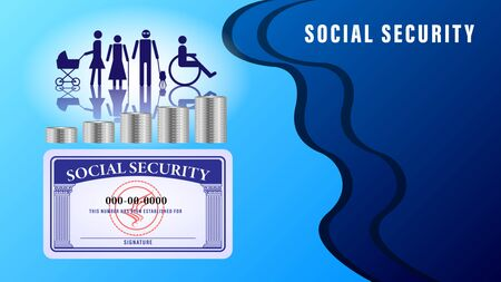 Social security card banner, poster. Simple figures of people subject to social protection on the abstract background, metal coins stacks. Vector Illustration