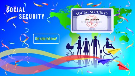Social security card banner, poster. Simple figures of people subject to social protection on the background of the map worlds. Paper airplanes with colorful traces. Vector Illustration