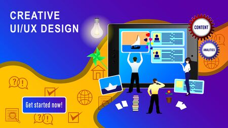 Web Design Application  Development banner. People install site windows on the Tablet PC screen. Realistic 3D vector illustration