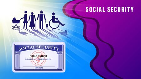 Social security card banner, poster. Simple figures of people subject to social protection under the sunlight on the abstract background. Vector Illustration