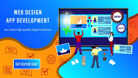 Web Design App Development banner. People install site windows on the monitor screen. Realistic 3D vector illustration Ilustrace