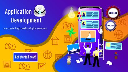 Web Design Application  Development banner. People Designers install site windows on the smartphone screen. Realistic 3D vector illustration Ilustrace