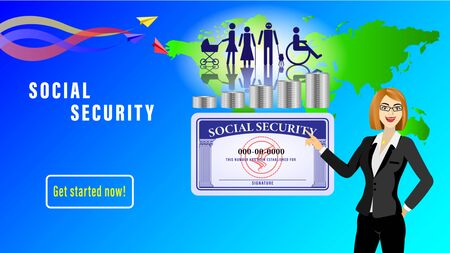 Social security card banner. Young woman points on a Simple figures of people subject to social protection on background of the map worlds. Paper airplanes with colorful traces. Vector Illustration Stock Illustratie