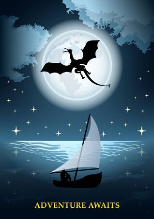 Flying dragon on the background of huge full moon and starry sky. The man in the boat with the sail. Fantasy fairytale poster vector Illustration  イラスト・ベクター素材