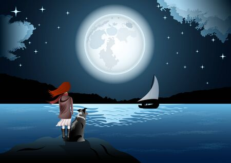Girl with a dog, rear view, by the sea on the background of huge full moon and starry sky. The man in the boat with the sail.  Beautiful seascape vector Illustration