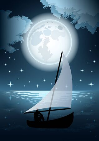 silhouette of a man in a boat with the sail in the sea on the background of a huge full moon,  clouds and starry sky. Beautiful night sea landscape. Vector Illustration  イラスト・ベクター素材