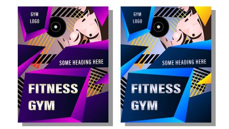 Fitness Gym Poster, Cover. Muscular man, the athlete grips the dumbbell on the background of the abstract gradient geometric shapes with text. Sport vector illustration