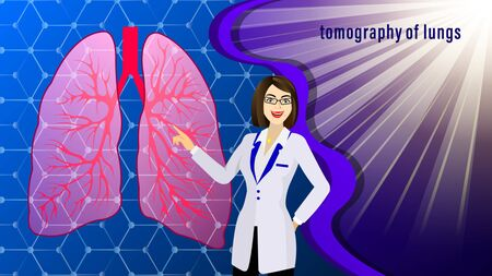 The doctor, woman in the white coat, points to Tomography of lungs of the human against the background of molecular lattice and sunlight rays. Medicine Vector Illustration. Standard-Bild - 129283832
