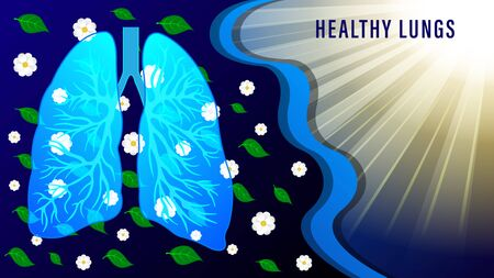 Tomography of lungs of the human against the background flying flowers and green leaves and sunlight rays. Medicine Vector Illustration. Illustration