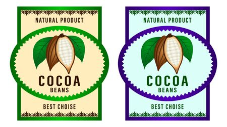 Natural product Cocoa beans packaging layout,  design Label. realistic cocoa fruits with green leaves. Beautiful gradient decorative frames and patterns. Vector Illustration Foto de archivo - 129283834