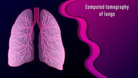 Computed Tomography of lungs of the human isolated on the dark background. Medicine anatomy Vector Illustration.