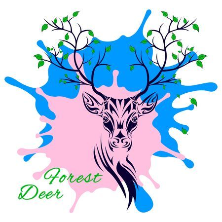 Tribal patterns head of deer with branches trees on the horns on a different colors blots, totem and tattoo design. Use for print, posters, t-shirts. Fairy fantasy vector Illustration