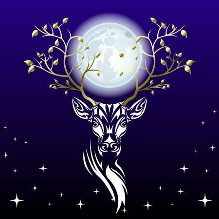 Tribal patterns head of deer with branches trees with gold leaves on the horns against a huge full moon, totem and tattoo design. Use for print, posters, t-shirts. Fairy fantasy vector Illustration