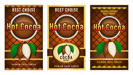 Natural product Cocoa beans packaging layout,  design Label. realistic cocoa fruits with green leaves. Beautiful gradient decorative frames and patterns. Vector Illustration Illustration