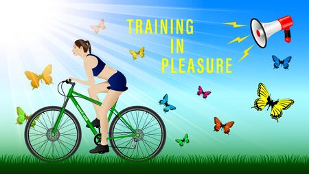 Summer time. Woman practicing on a bike under a megaphone, side view. Outdoor, Sunny weather, green grass, flying colorful butterflies. Sport and recreation. Realistic Vector Illustration