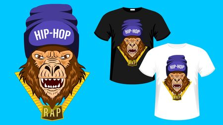 Monkey, Gorilla of Hip-Hop Music. Hip hop rapper gorilla head in hat. Image for printing on t-shirt. Bandit monkey with gold chain. Sticker, album cover. Vector Illustration
