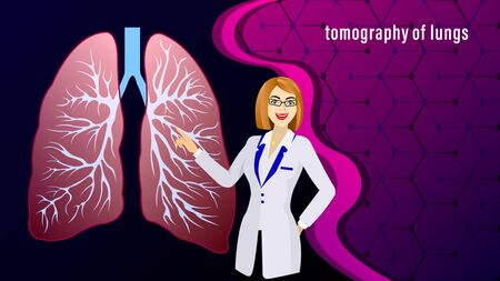 The doctor, woman in the white coat, points to Tomography of lungs of the human against the background of molecular lattice. Medicine Vector Illustration. Standard-Bild - 129283873