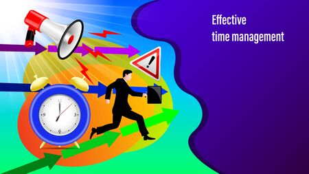 Effective time management banner. Megaphone, alarm clock, direction arrows, road sign attention, Running businessman in a business suit and with a briefcase in the sunlight. Vector Illustration Çizim