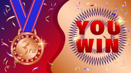 You win. Bronze medal for 3rd, third place, serpentine, confetti on a beautiful gradient background. Realistic 3d vector illustration Фото со стока - 129283875