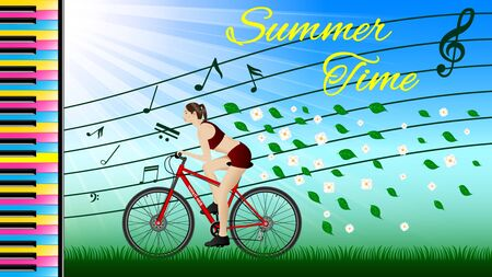 Summer time. Woman practicing on a bike under Music, side view. Sunny weather, flying leaves and flowers, piano keyboard and musical notes. Sport and recreation. Realistic Vector Illustration