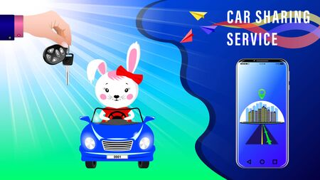 Car Sharing Service. Hand delivers keys with electronic keychain. Cartoon Bunny rides in a convertible under the sunlight, front view. Smartphone showing the route. Realistic 3d Vector illustration. Ilustrace
