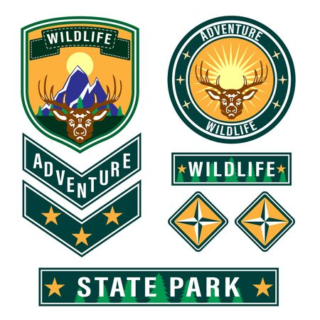 Set of mountain travel, tourism, hiking patches. Forest camping outdoor adventure emblems, labels badges, logo. Deer head with antlers front view. Vector Illustration Illustration