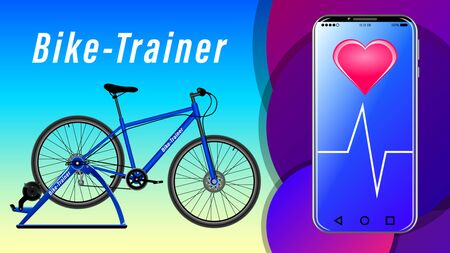 Workout on a bike-trainer and using a mobile application to watch out her performance, side view. Sport and recreation. Landing page concept. Realistic vector Illustration