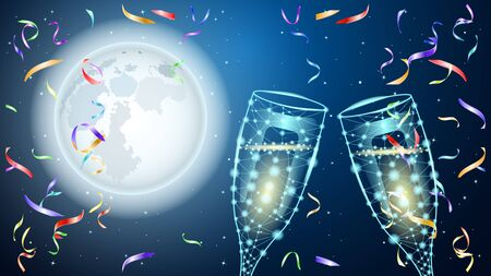 Poligonal Two glass of wine. Huge full moon and starry sky. Colorful shiny confetti. Beautiful Night vector Illustration