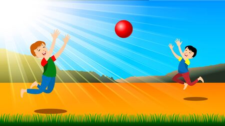 Children, two boys playing with a ball, enjoy the summer on yellow sand against the background of sunlight, blue sky. Cartoon flat style vector illustration Illustration