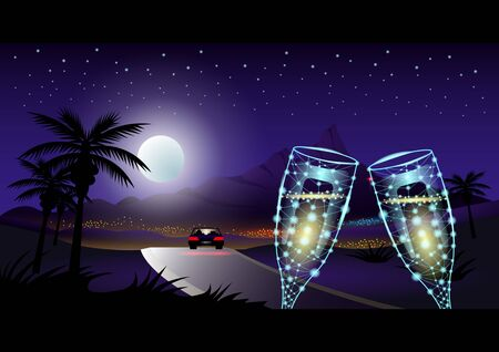 Evening in the tropics, Two glass of wine. Full moon and starry sky, car on the highway in front of the city among the palm trees. Southern landscape vector Illustration