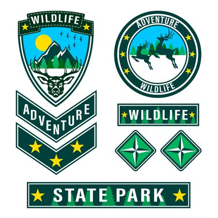 Set of mountain travel, tourism, hiking patches. Forest camping outdoor adventure emblems, labels badges, logo. Deer head with antlers front view, two deer in jump side view. Vector Illustration