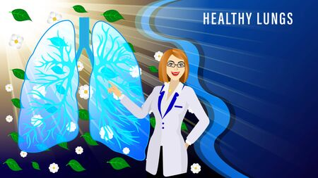 The doctor, woman in the white coat, points to Tomography of lungs of the human against the background flying flowers and green leaves and sunlight rays. Medicine Vector Illustration.