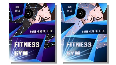 Fitness Gym Poster, Cover. Muscular man, the athlete grips the dumbbell on the background of the molecular lattice. Gradient geometric shapes with text. Sport vector illustration Illustration