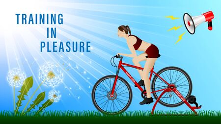 Woman practicing on a stationary bike, Bike-Trainer under a megaphone, side view, profile. Outdoor, Sunny weather, green grass, dandelion. Sport and recreation. Realistic Vector Illustration