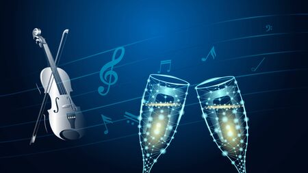 Abstract polygonal wireframe two glasses of wine and realistic violin with bow on the background of musical notes. Triangulation vector Illustration Çizim