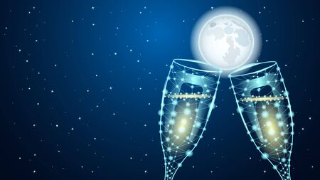 Poligonal Two glass of wine. Huge full moon and starry sky. Beautiful Night vector Illustration